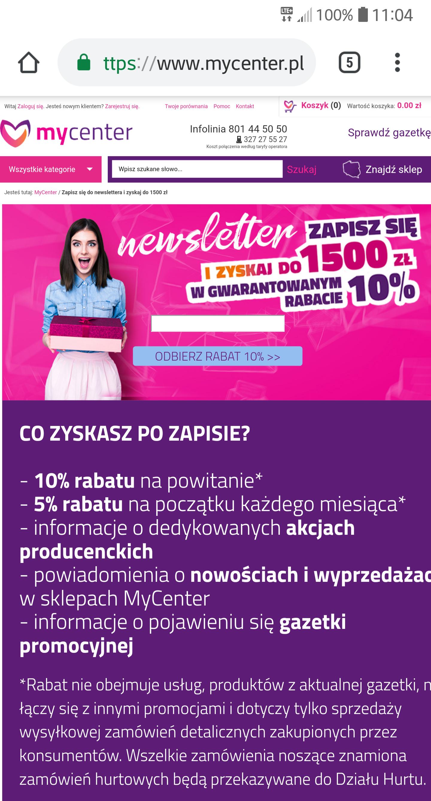 Rabat 10% newsletter MyCenter