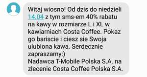 Costa coffe 40% taniej