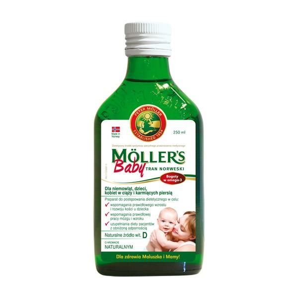 Moller's Baby Tran Norweski, aromat naturalny, 250 ml + darmowa dostawa do apteki DOZ