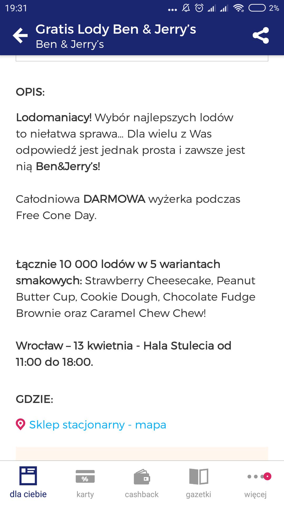Darmowe lody Ben&Jerry's @ Wrocław Hala Stulecia 13.04