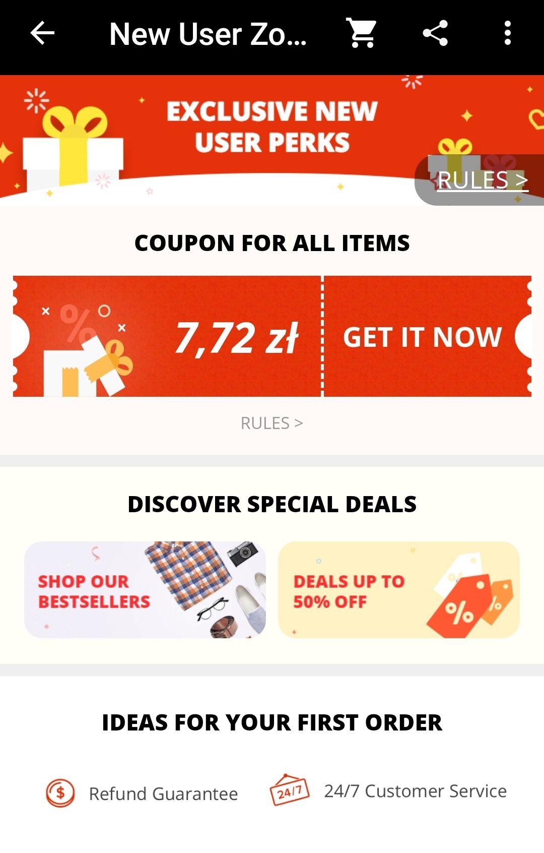Kupony dla nowych użytkowników Aliexpress