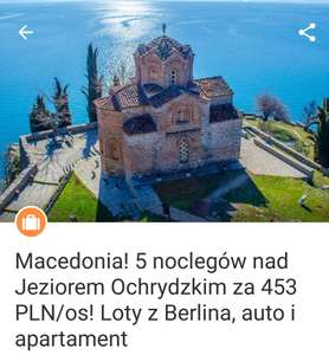 Macedonia 5 noclegów auto apartament za 453 PLN/os