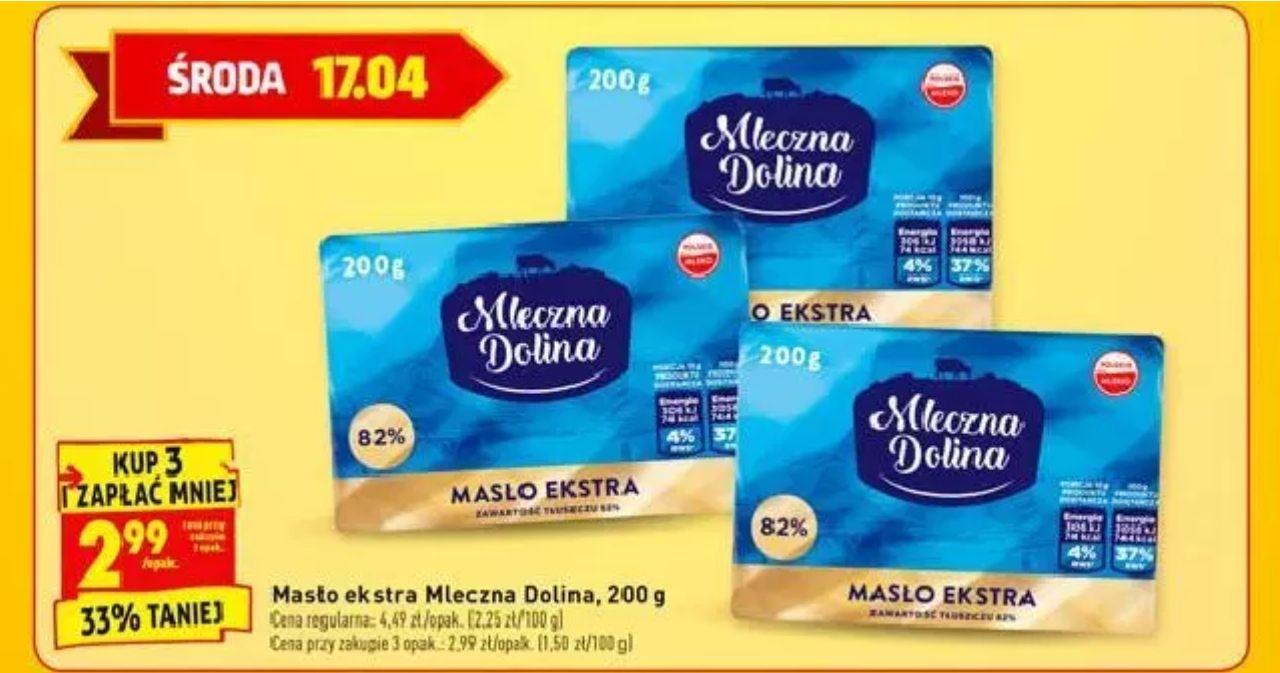 3x masło ekstra 82% Mleczna Dolina (2,99 zł za 1) @ Biedronka