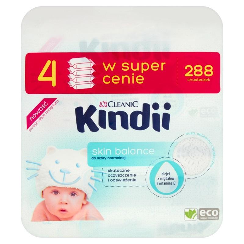 Superpharm-  Cleanic Kindii Skin Balance - chusteczki nawilżane dla dzieci x 4 opakowania (288szt)