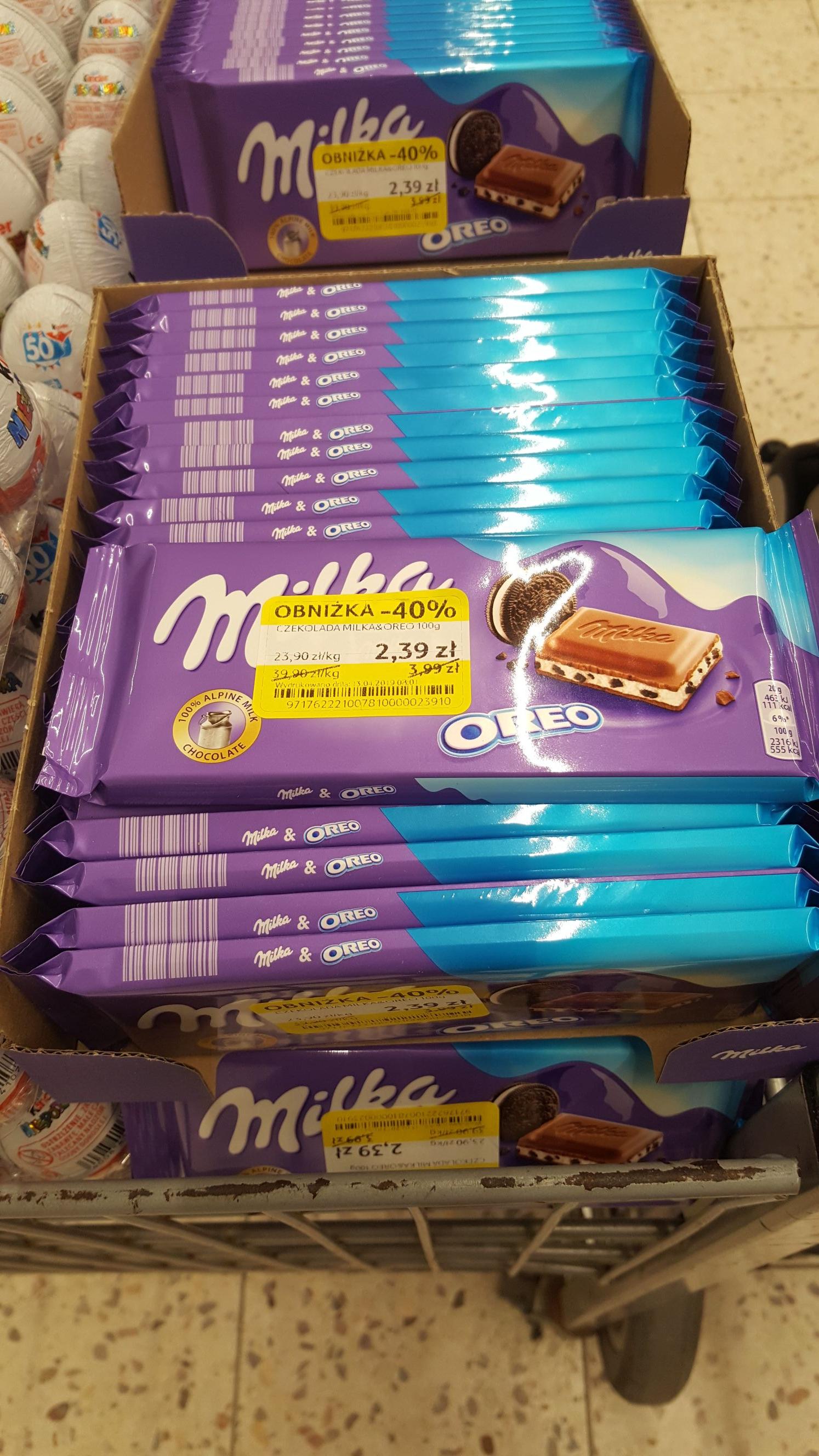 Tesco Kabaty czekolady Milka Oreo-40%, jajka Kinder niespodzianka -60%, batoniki Milka Strawberry -50%