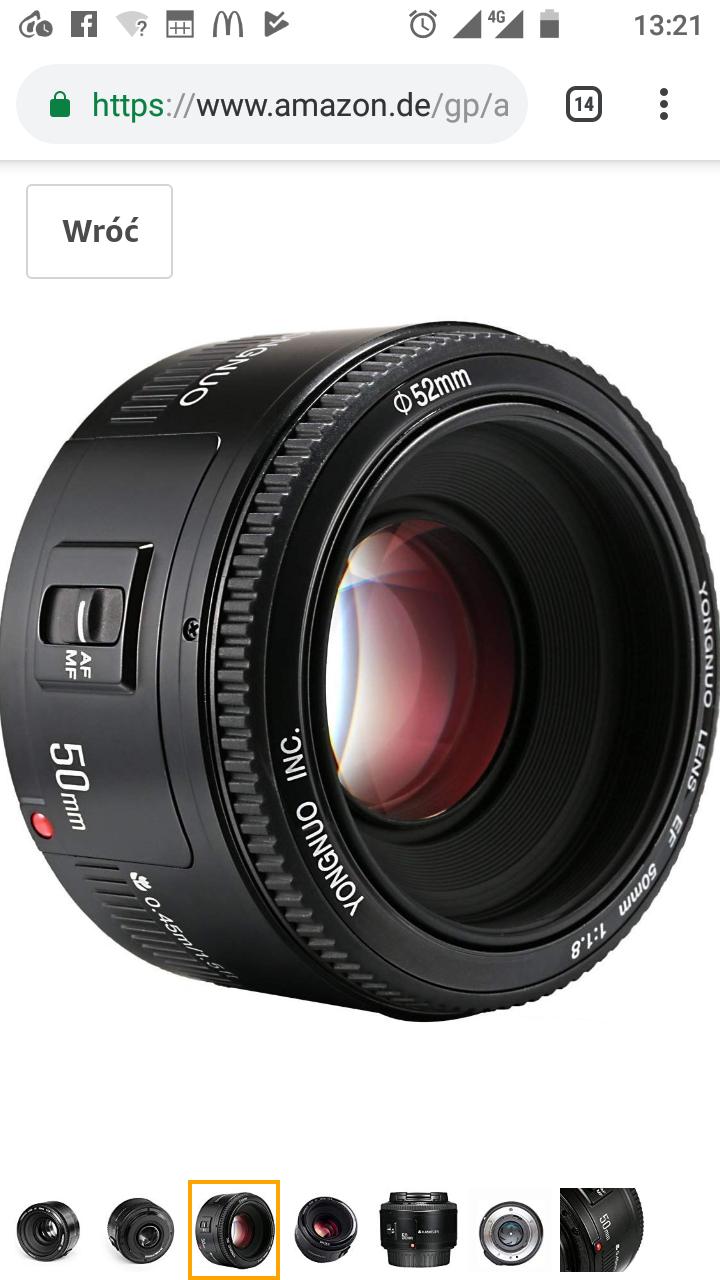 Yongnuo YN obiektyw 50 mm f/1.8 do aparatów Canon EF z Amazon.de