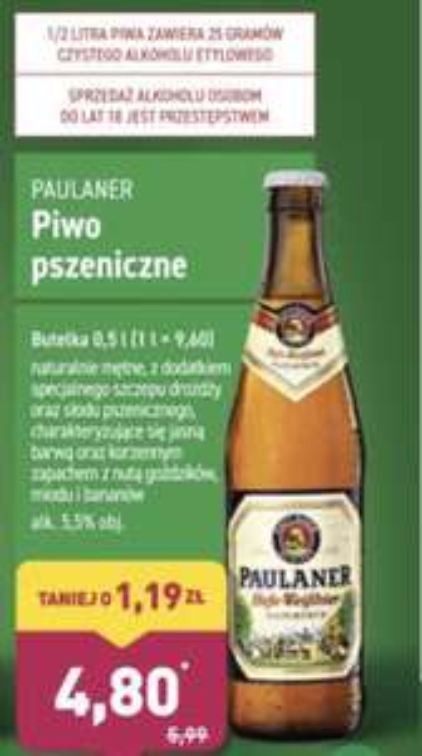 Paulaner 0,5l Aldi piwo pszeniczne jasne