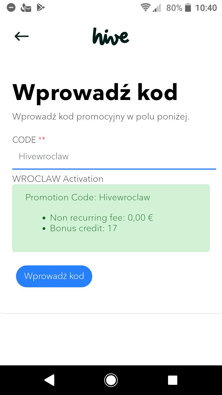 Darmowe 17 minut do wykorzystania w aplikacji Hive, dla osób które NIE korzystały z kodu hellowroclaw!