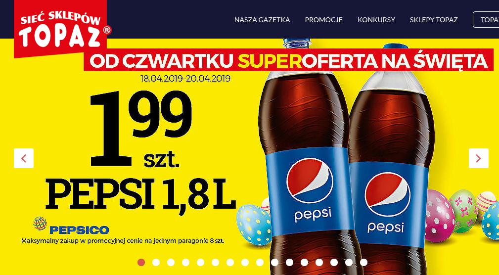 PEPSI 1,8 litra w dobrej cenie TOPAZ