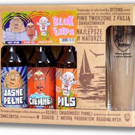 Piwo zestaw trzech piw Bytów ciemne + szklanka Auchan Płock