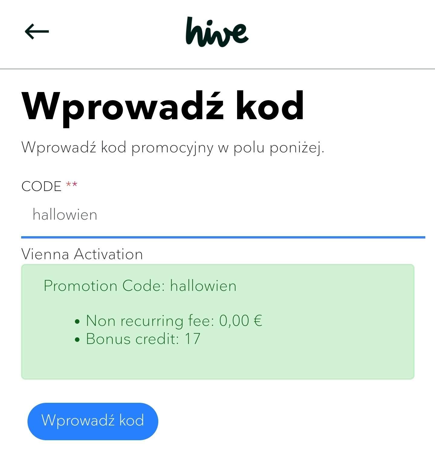 Nowy kod na 17 kredytów do hive