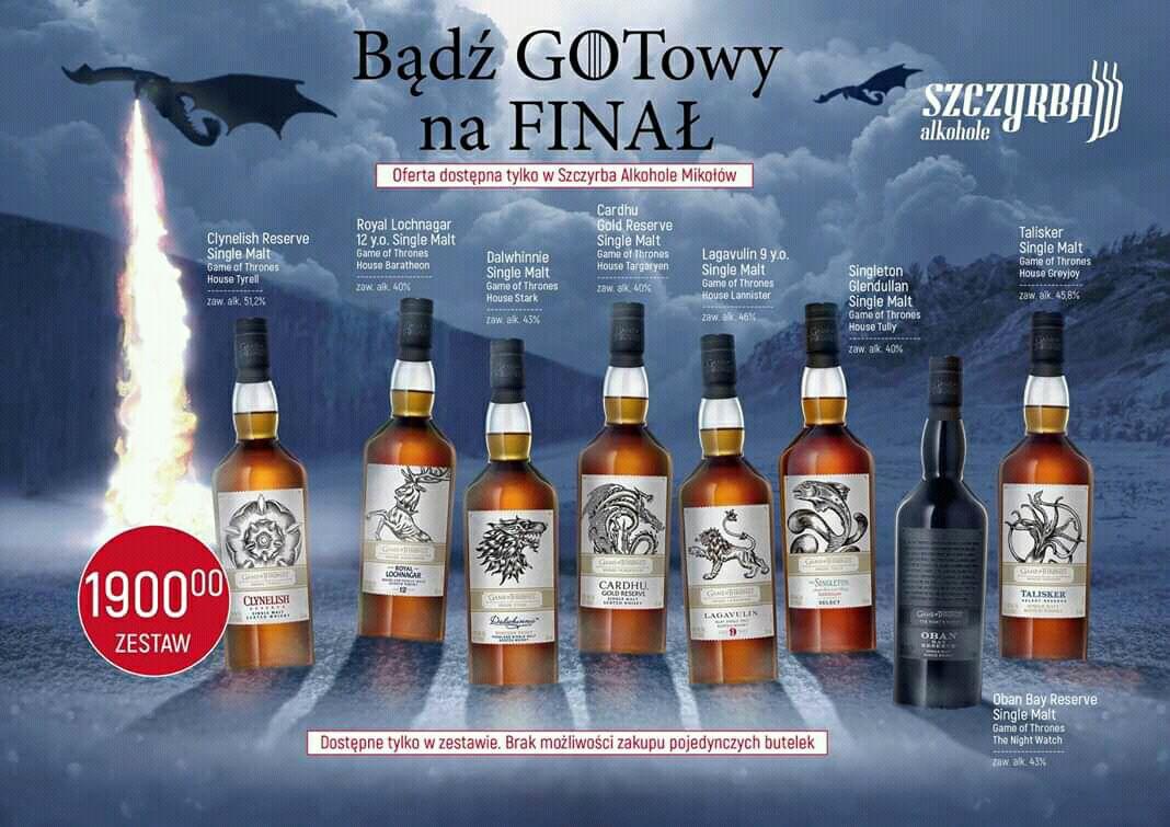 Zestaw whisky GOT / tylko 10 kompletów / brak możliwości rezerwacji