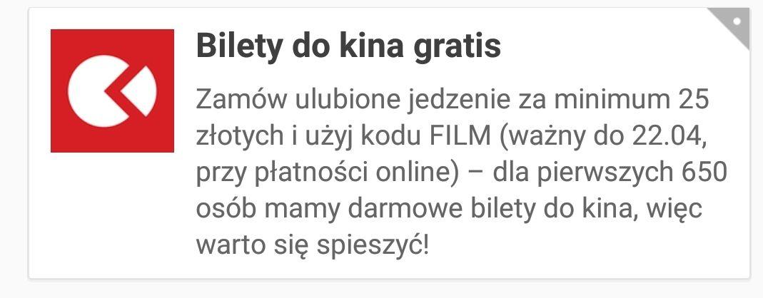 Bilety do kina gratis z pizzaportal.pl