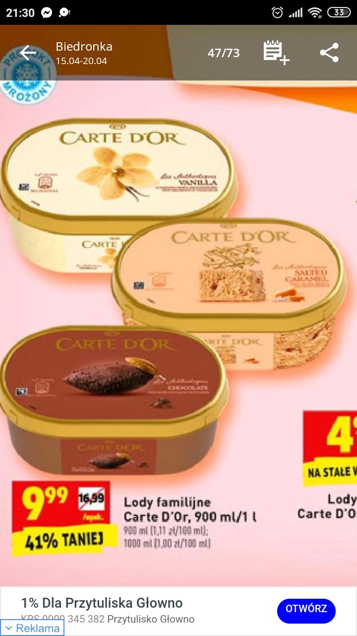Lody Carte Dor w super cenie w Biedronce