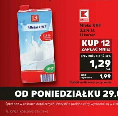 Mleko UHT 3.2% Kaufland 1.29zł