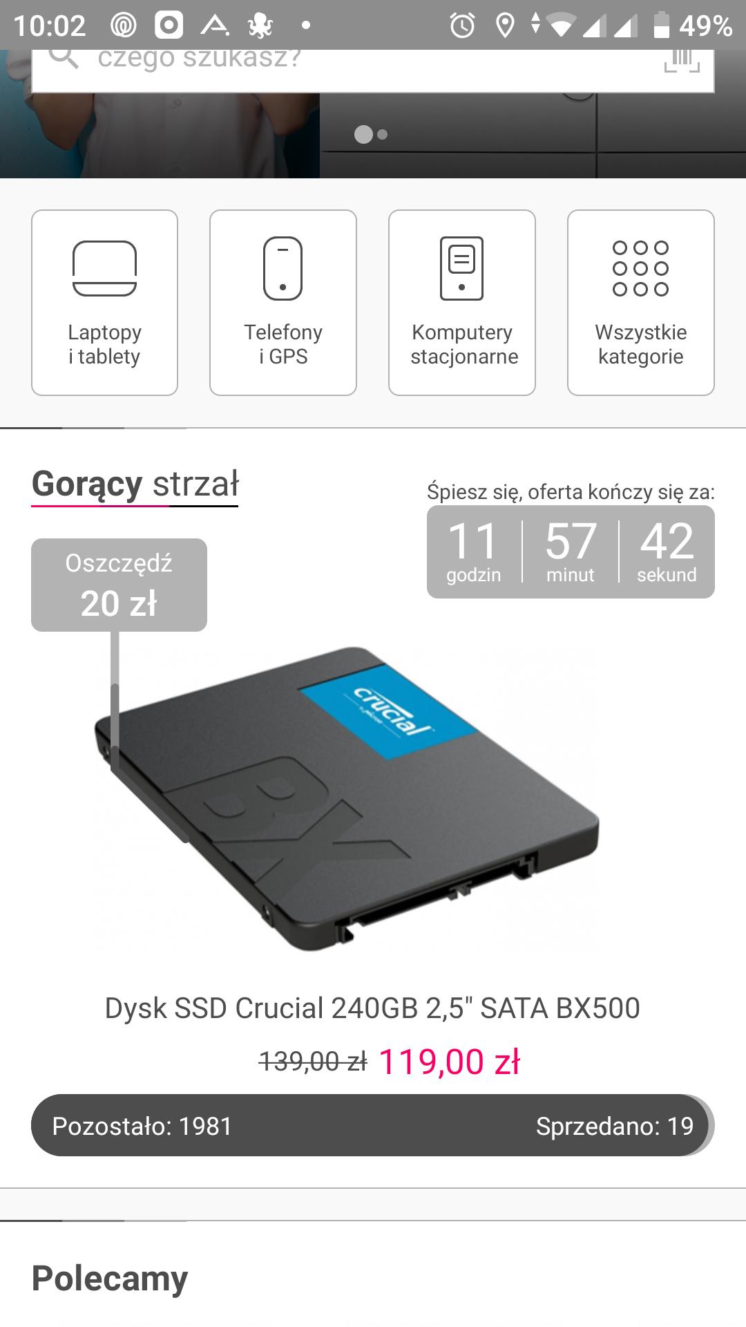 Dysk SSD Crucial 240GB