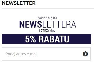 5 % Rabatu za Zapisanie się do Newslettera