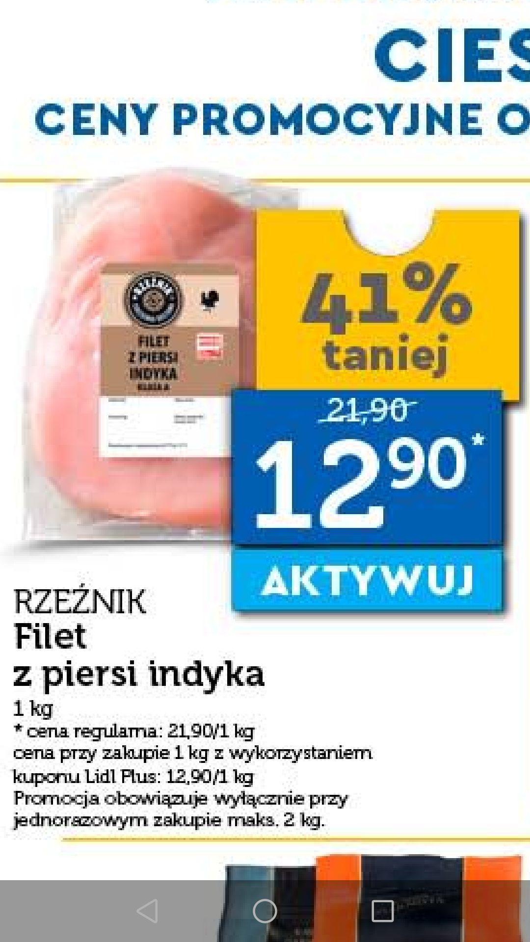 Filet z piersi indyka kupon Lidl Plus od wtorku 23.04