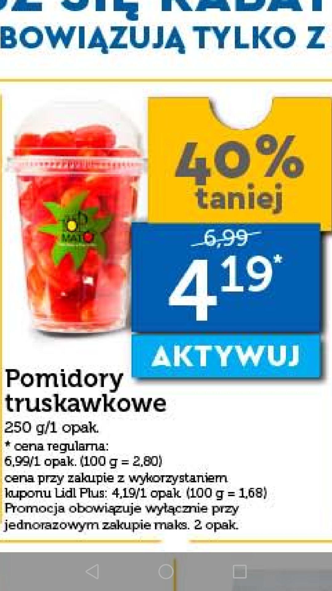 Smaczne pomidory truskawkowe 250g kupon Lidl Plus
