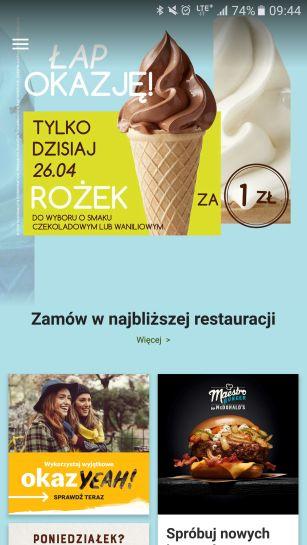 Lody + burger za 1 zł! Rożek czekoladowy lub waniliowy w McDonald. Okazja YEAH w aplikacji mobilnej.