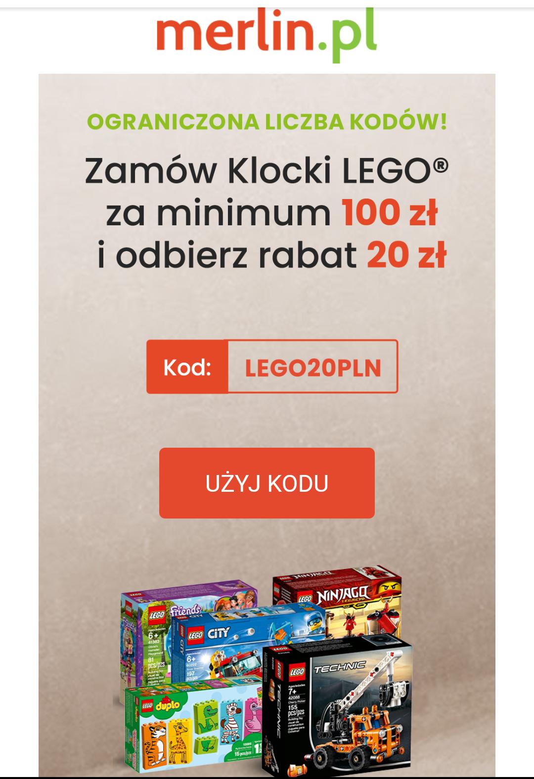 20zł rabatu na zakup klocków LEGO w merlin.pl mwz 100zl