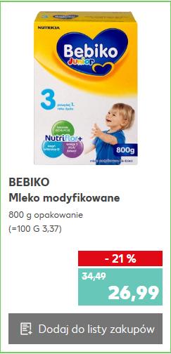 Mleko Bebiko za 26,99zł, mleko NAN za 29,99zł