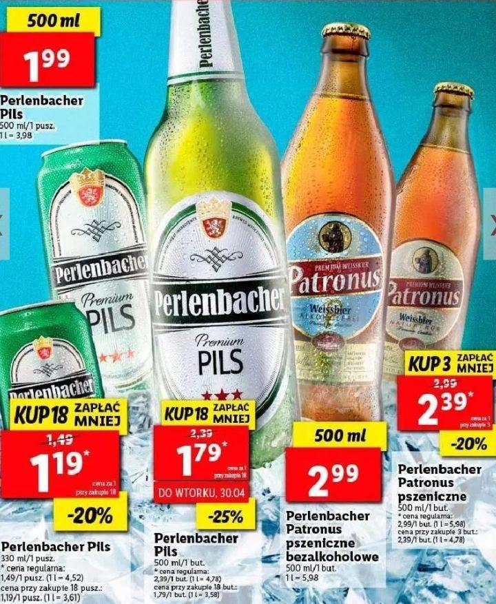 3x piwo Perlenbacher Patronus (2,39zł za 1) i 18x Perlenbacher Pils (1,79zł/1,19zł za 1) @ Lidl