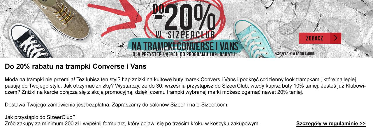 20% rabatu na trampki Converse i Vans @ Sizeer
