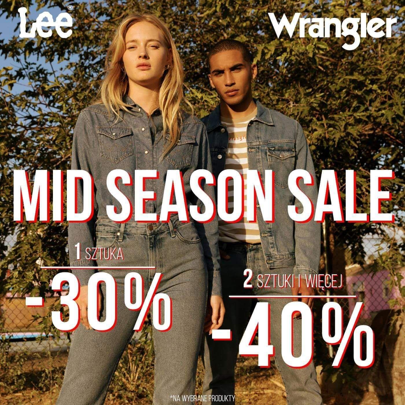 Lee Wrangler wyprzedaż 30% 1szt 40% przy zakupie 2szt i więcej