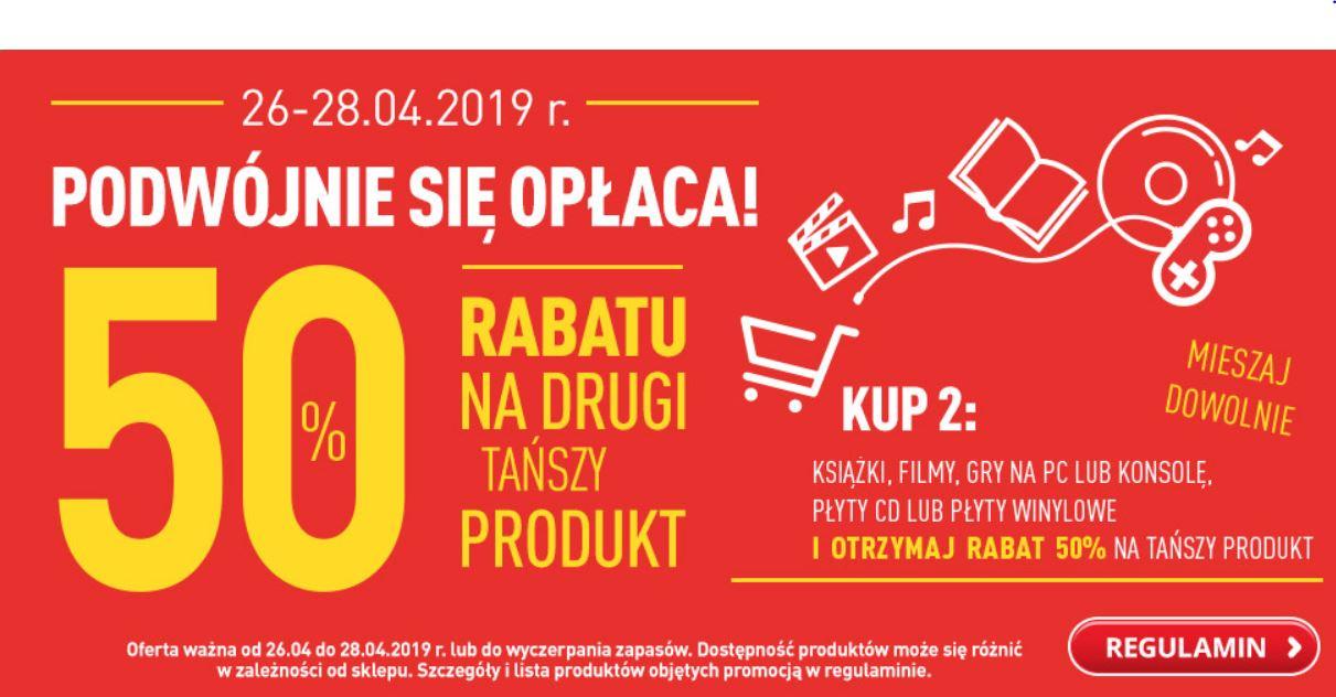 50% RABATU na drugi produkt (GRY, FILMY, KSIĄŻKI, PŁYTY CD, PŁYTY WINYLOWE) @ Biedronka