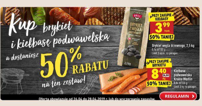 Brykiet i kielbasa podwawelska rabat 50%przy zakupie takiego zestawu @ biedronka