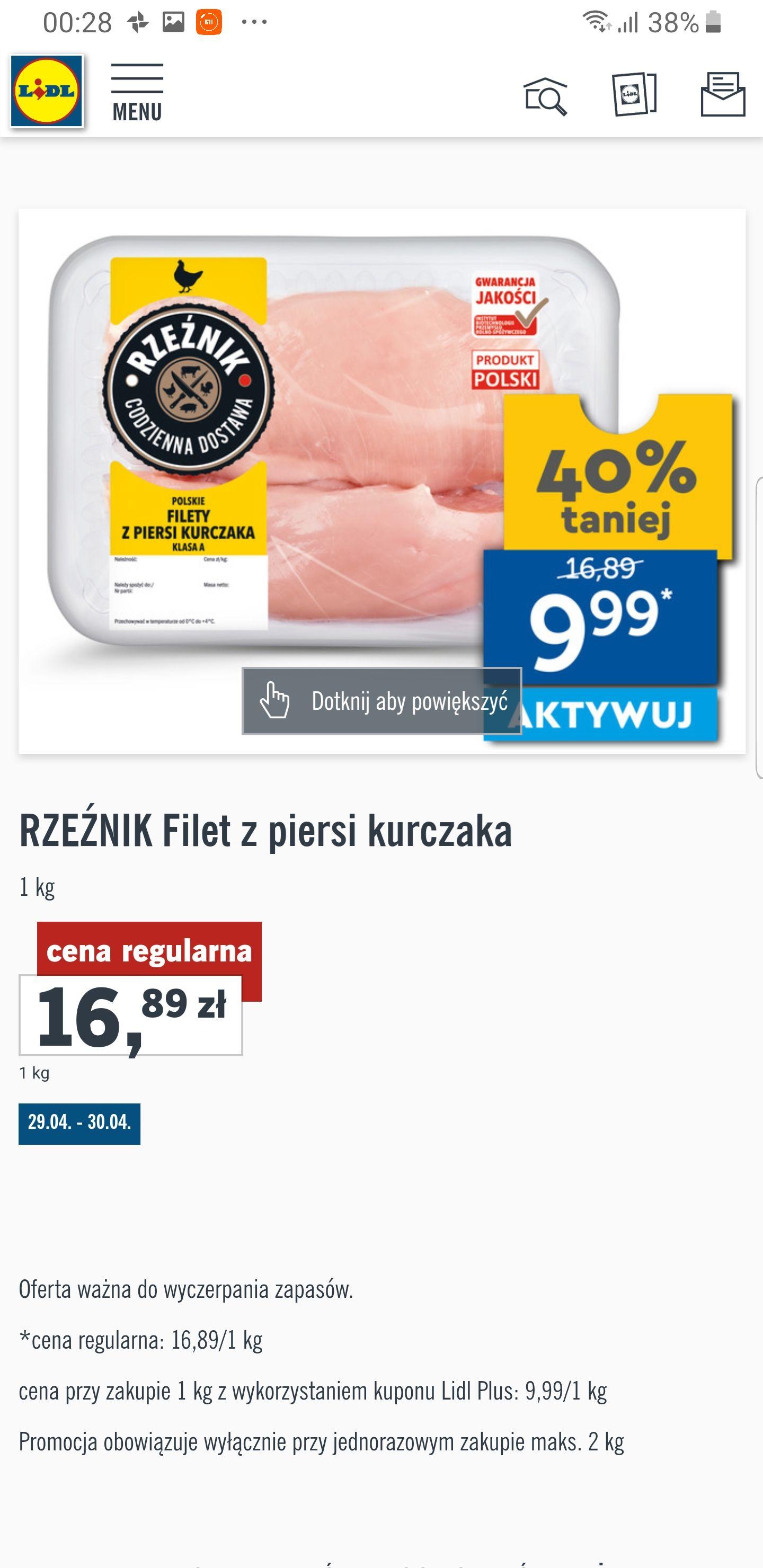 Filet z piersi kurczaka 40% taniej z Lidl Plus