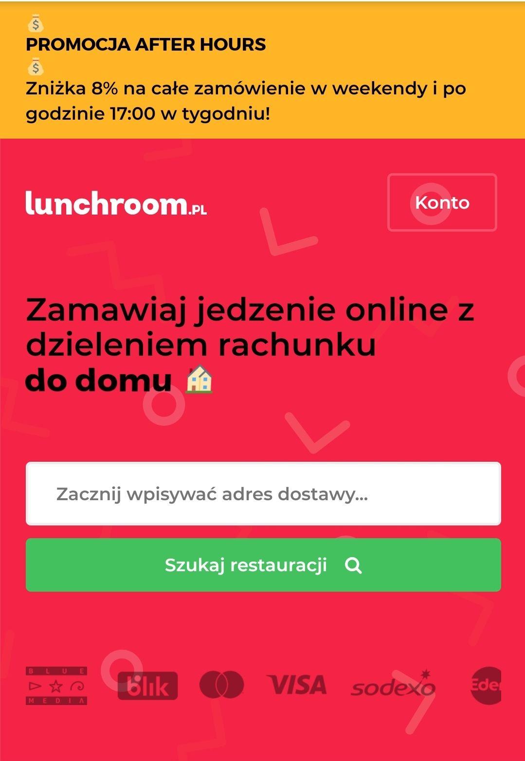 Lunchroom.pl (PizzaPortal) -8% na całe zamówienie w weekendy (caly dzień) oraz w tygodniu po 17:00