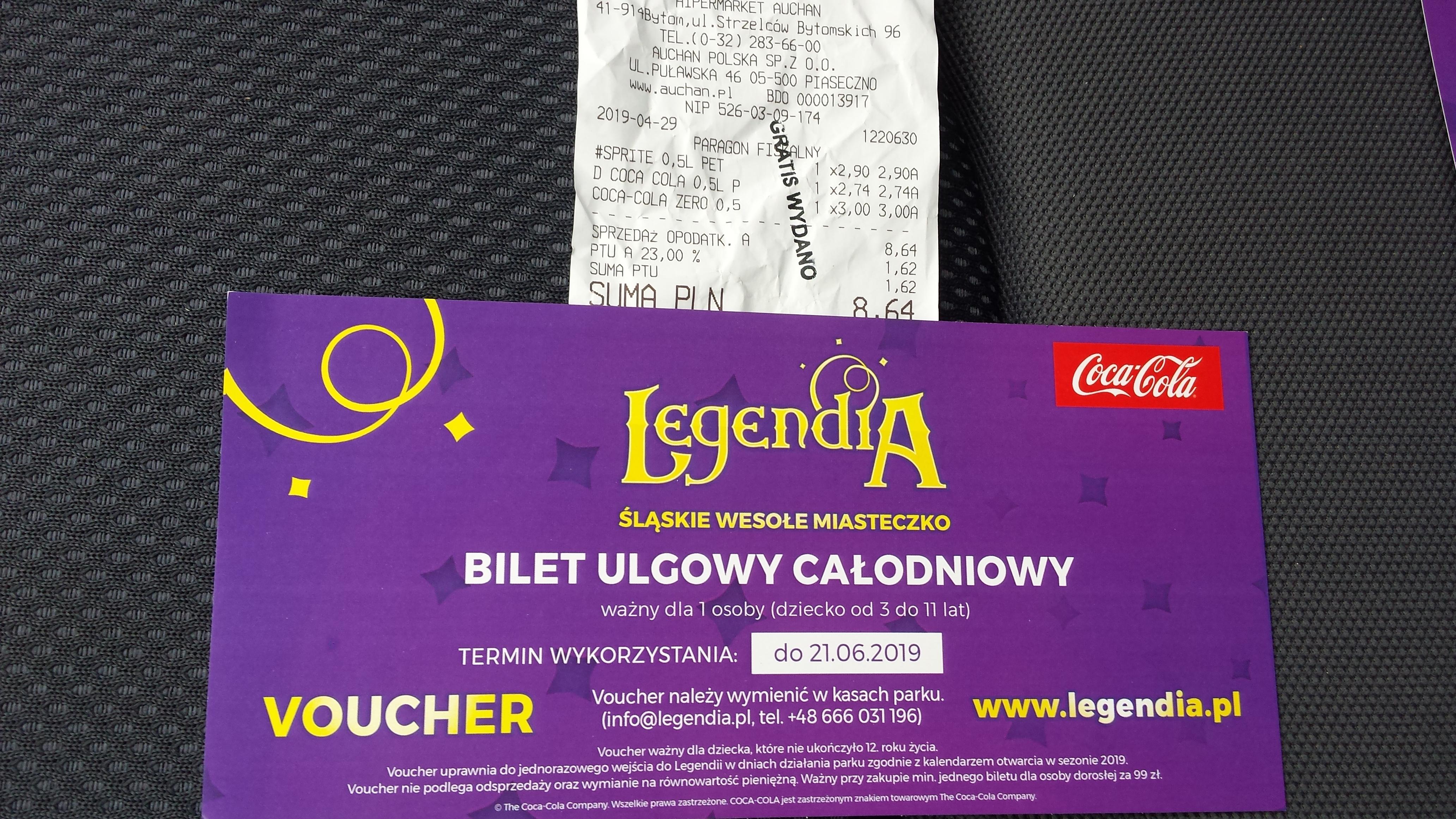 Voucher Legendia przy zakupie dowolnych 3szt. 0.5l napojów od Coca-Cola w M1 Auchan Bytom