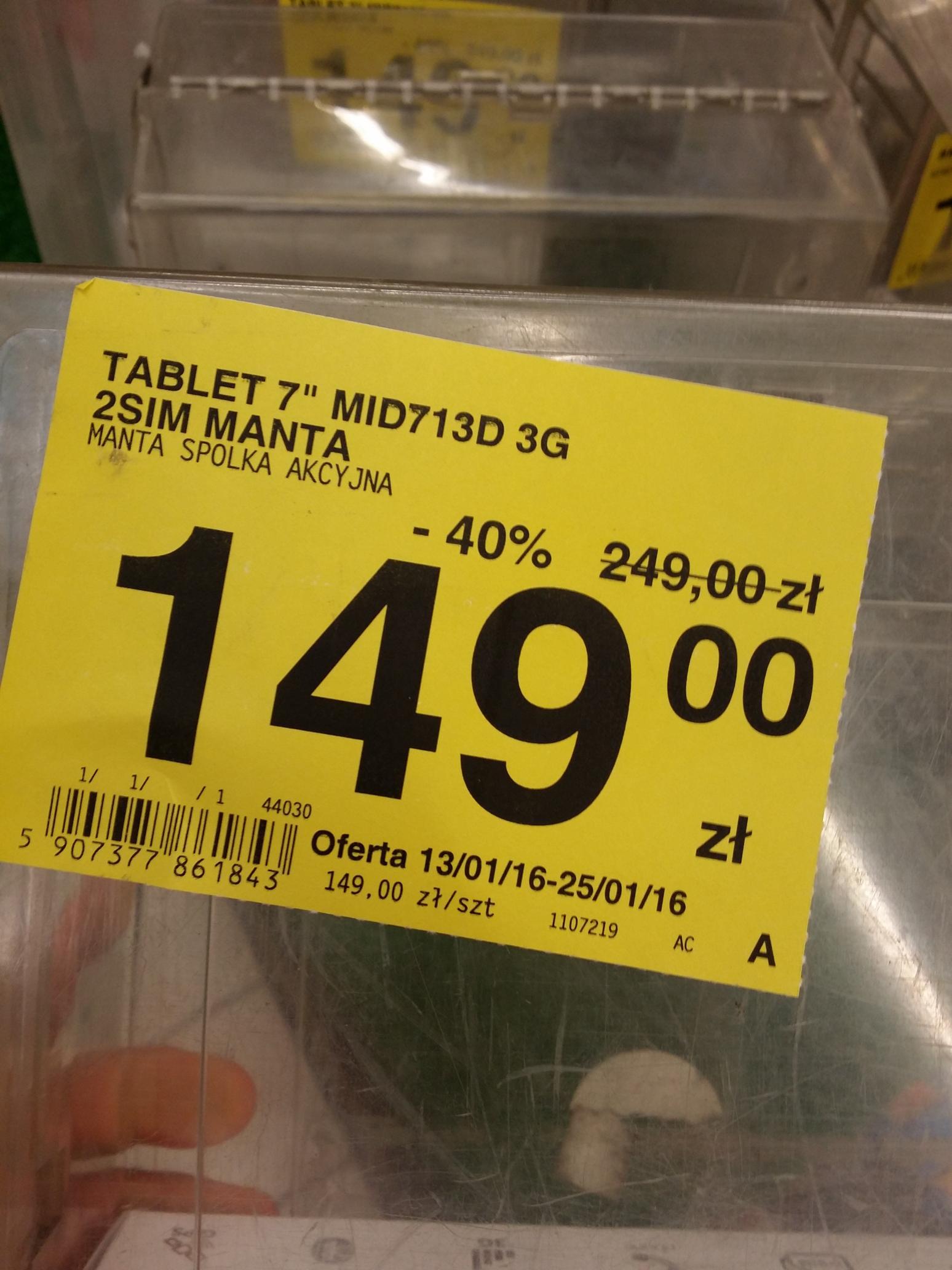 "Tablet 7"" Manta MID713 (Dual SIM, 3G, GPS) @Carrefour"