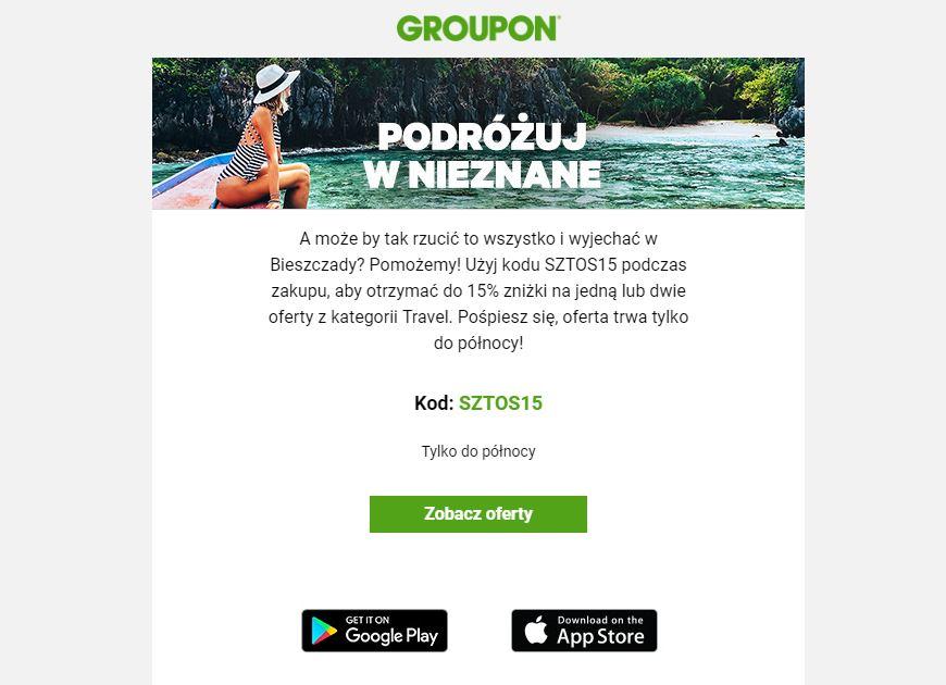 Groupon 15% zniżki w kategorii Travel - tylko dziś 30.04.