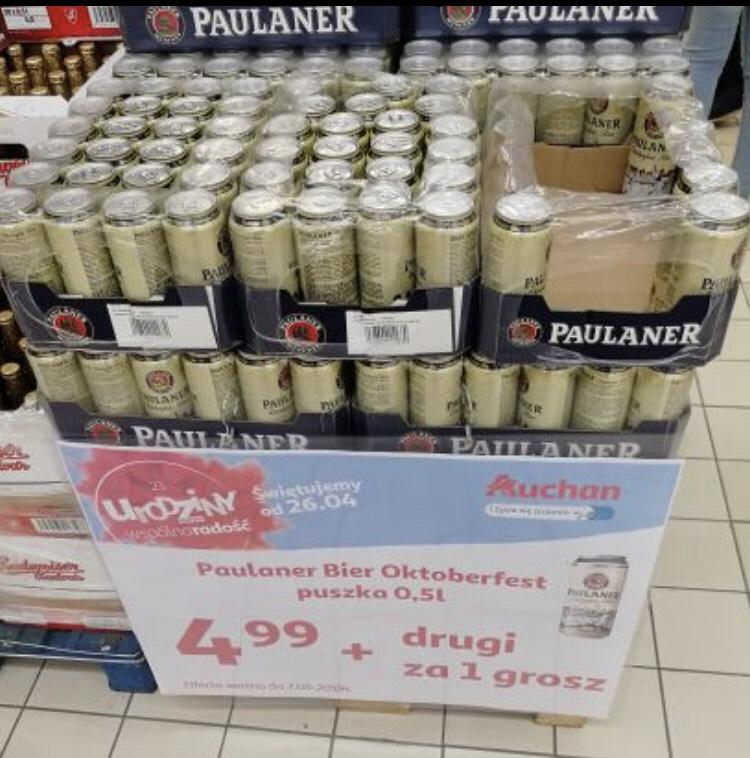 Piwo Paulaner 0.5L za 2.50 przy zakupie 2szt w Auchan