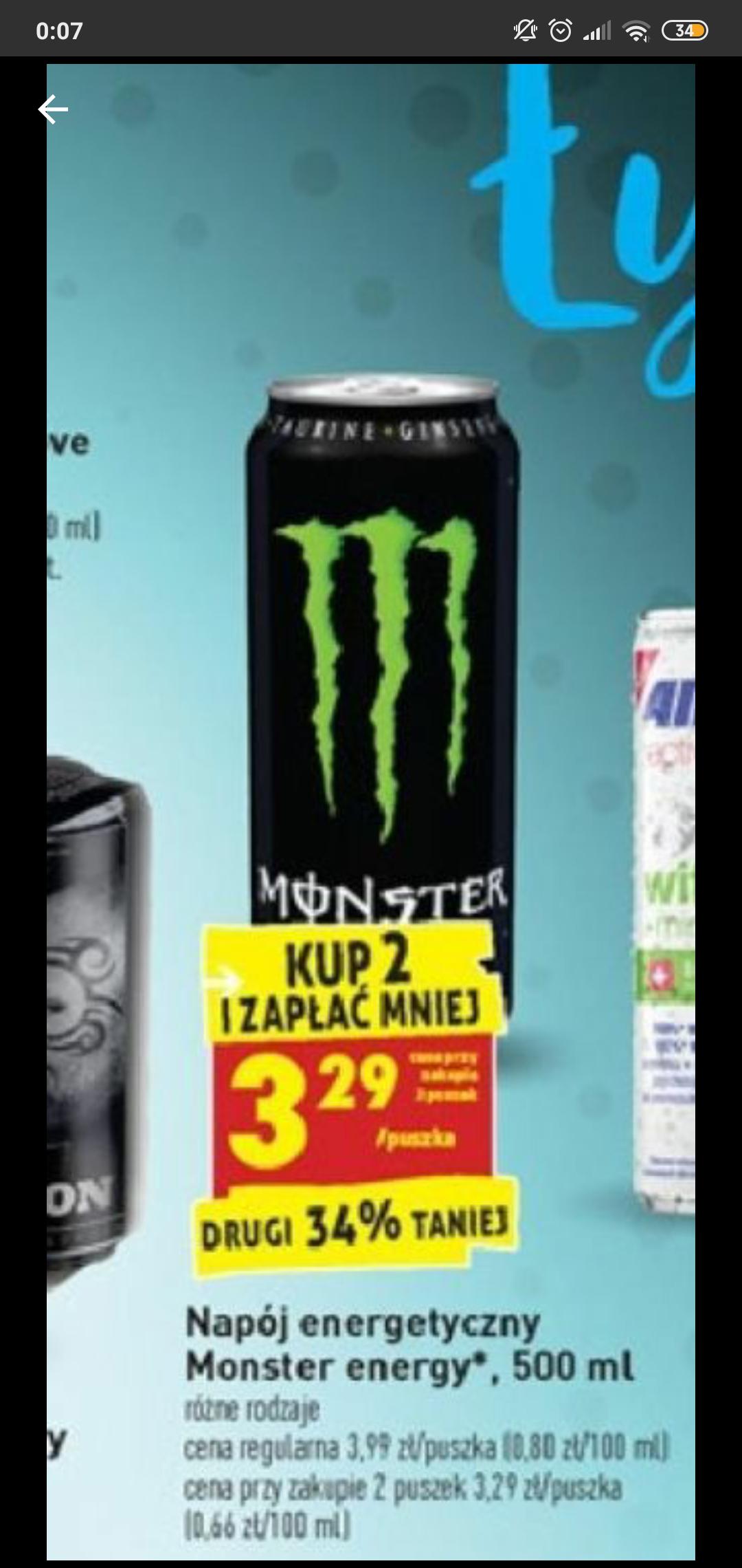 Monster Energy 3,29zł przy zakupie 2 puszek / Biedronka