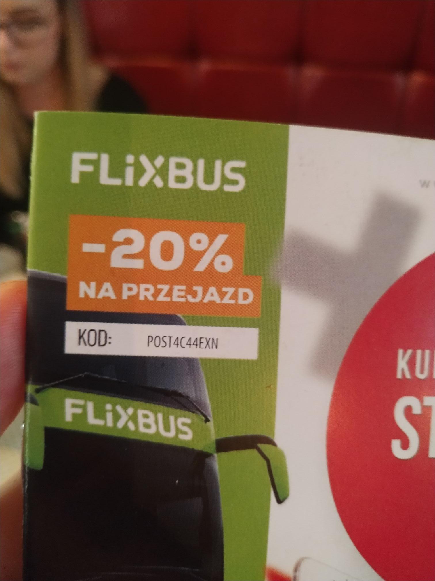 Flixbus -20% na przejazd