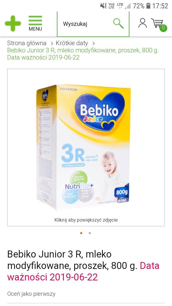 Mleko Bebiko 3R  800g z kleikiem ryżowym, krótka data ważności