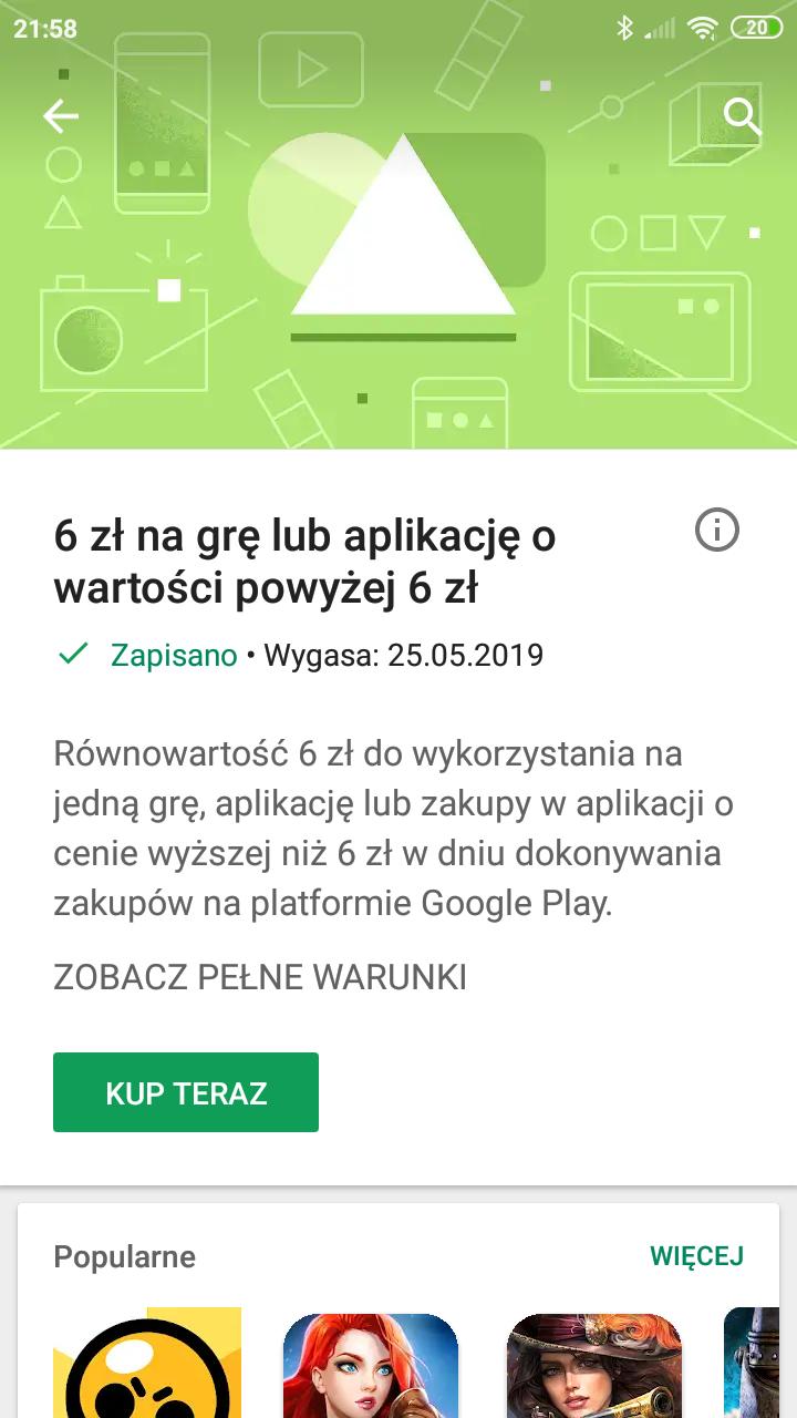 Darmowe 6 zł na wydanie na grę lub aplikację w sklepie @Google Play