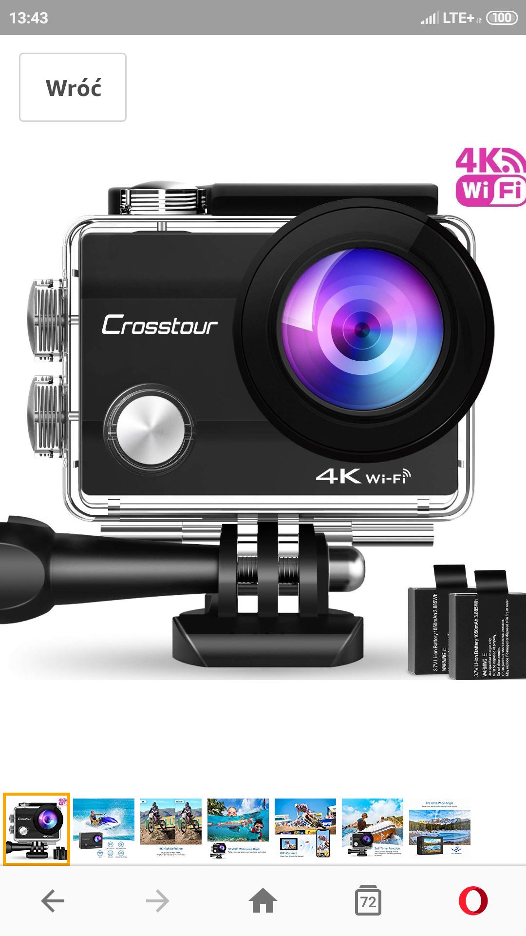 Crosstour Action Cam 4K WiFi kamera sportowa