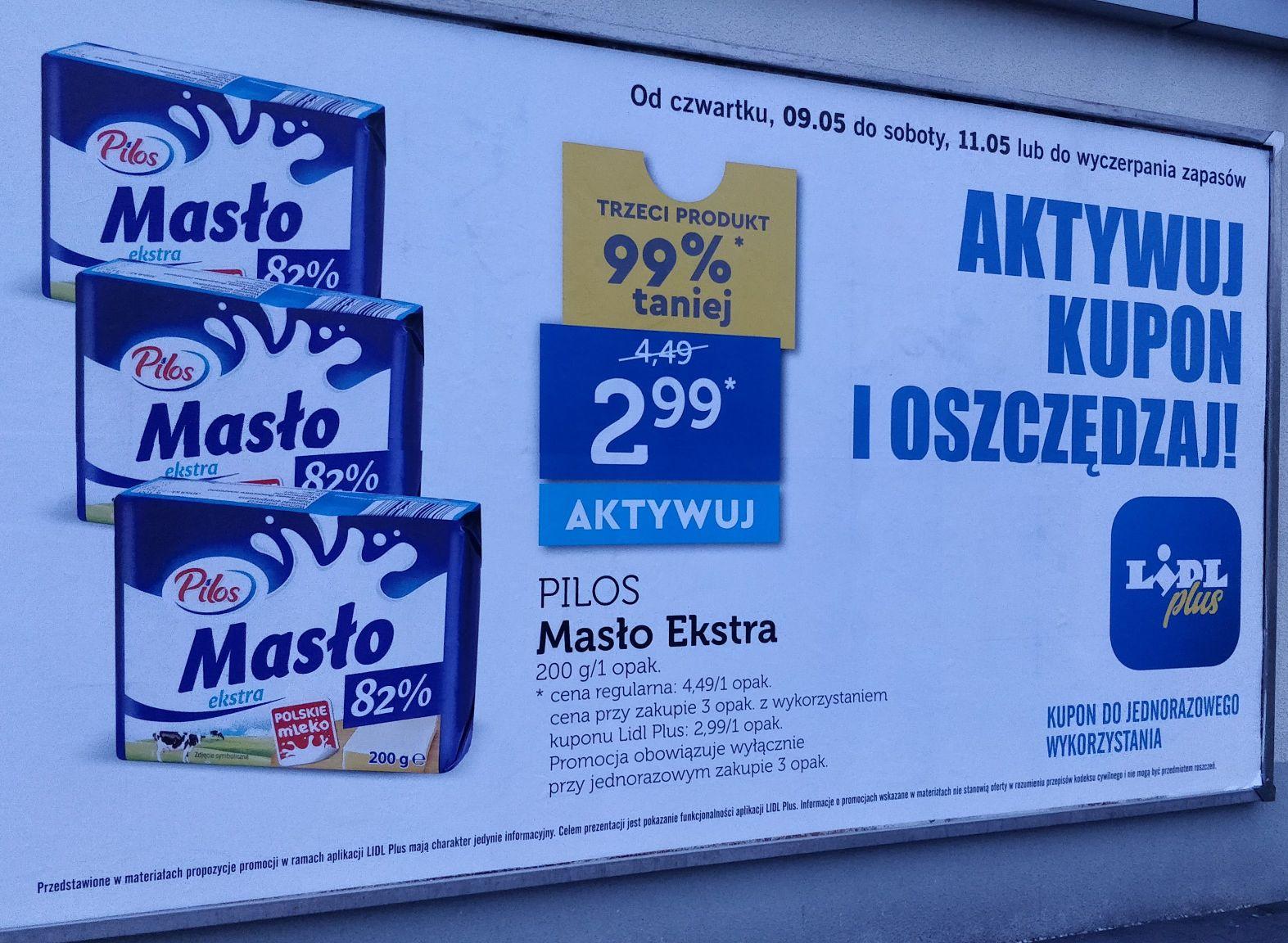 Masło ekstra Pilos 82% tłuszczu z kuponem Lidl+ po 2,99/szt. przy zakupie 3
