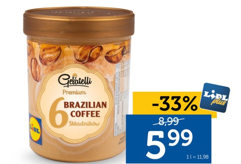 Lody naturalne LIDL PLUS - Brazylijska kawa lub wanilia z Tahiti. 5.99zł - 500ml.