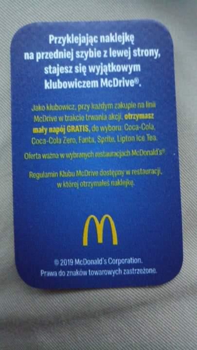 Klub McDrive darmowy napój @ Mcdonald's