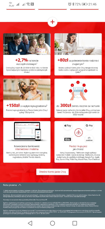 Dla nowych kont 150zł za wpływ wynagrodzenia i aktywność Santander +1% za rachunki