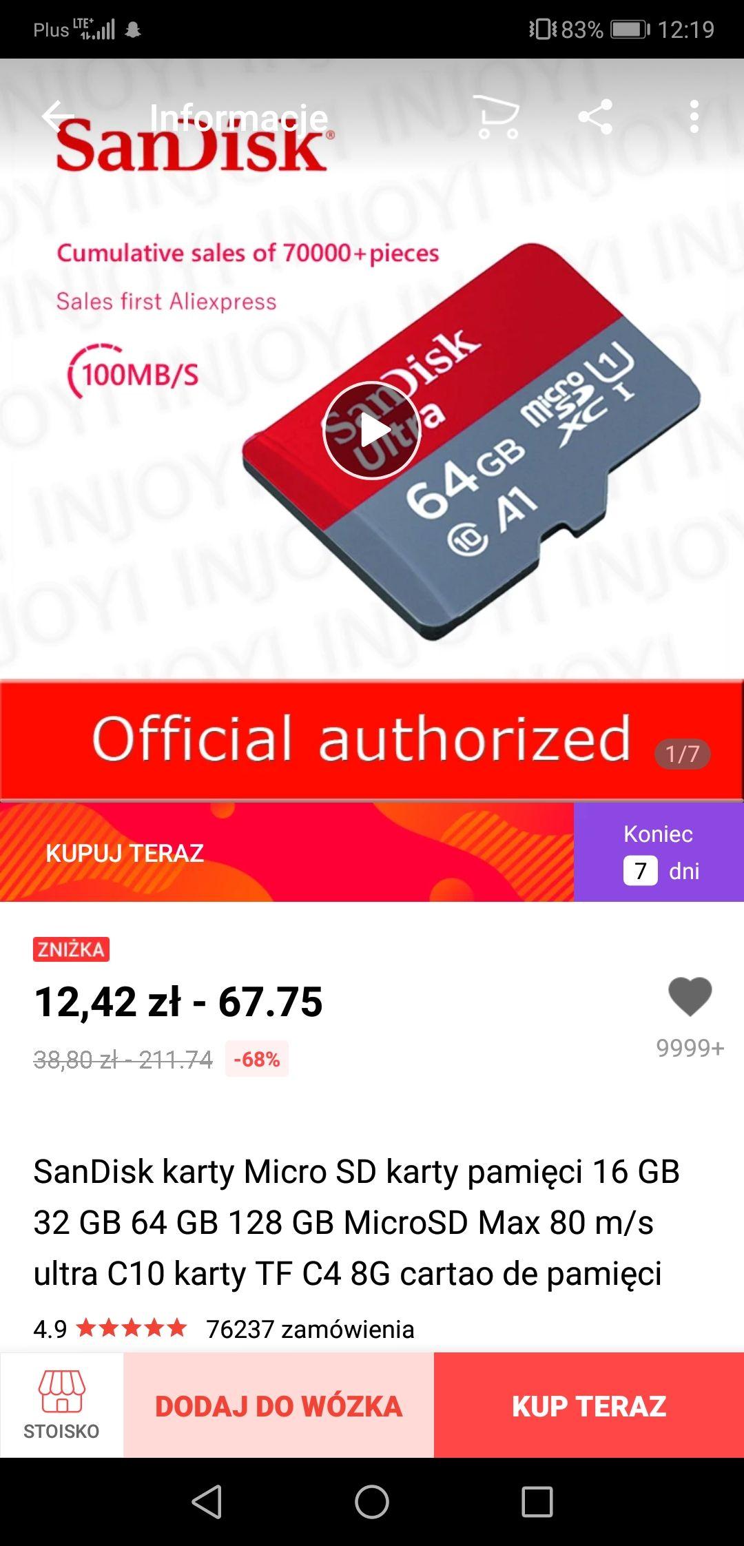 Karta SDHC SanDisk 16 GB