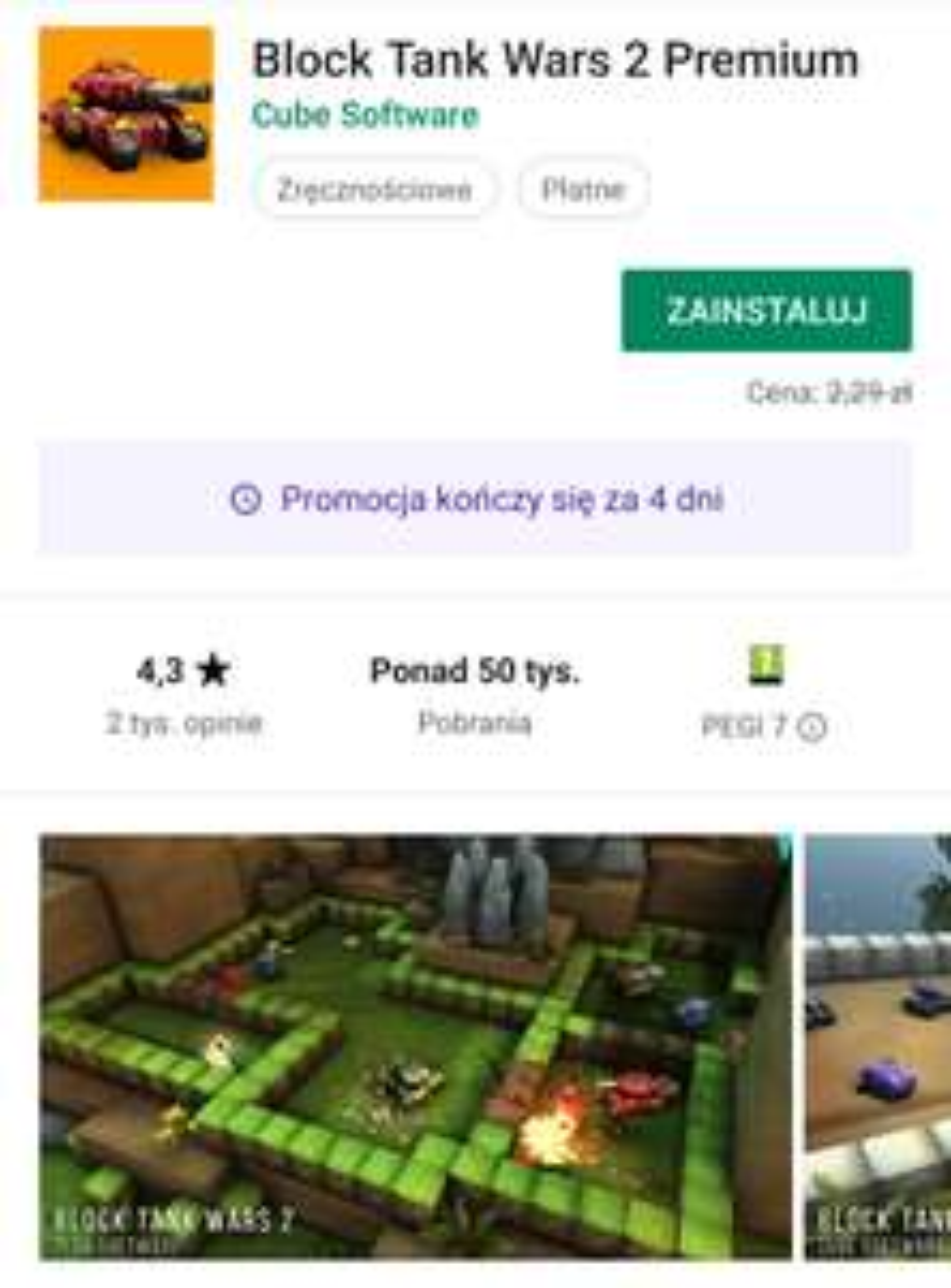 Block Tank Wars 2 Premium - Gra z Google Play za darmo