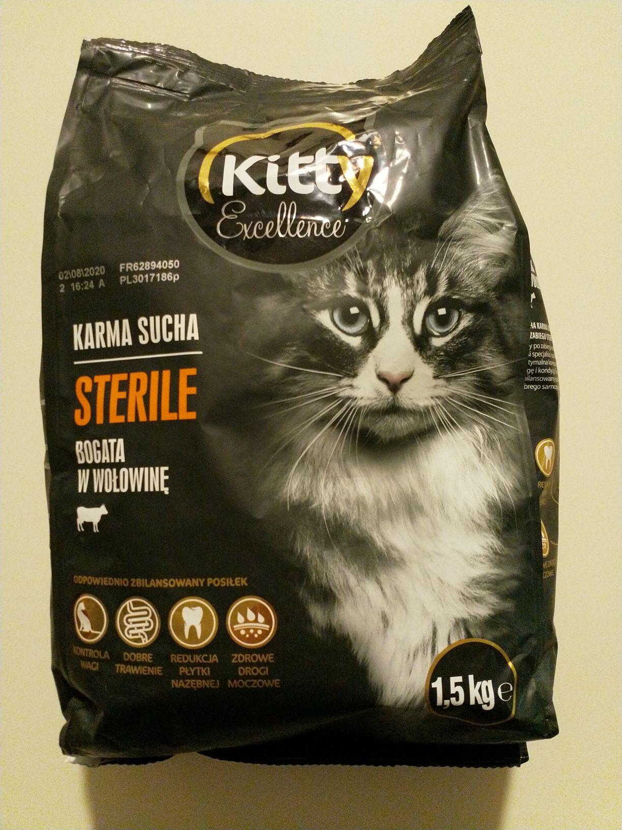 Karma dla kota Kitty Sterile z wołowiną 1.5kg Biedronka