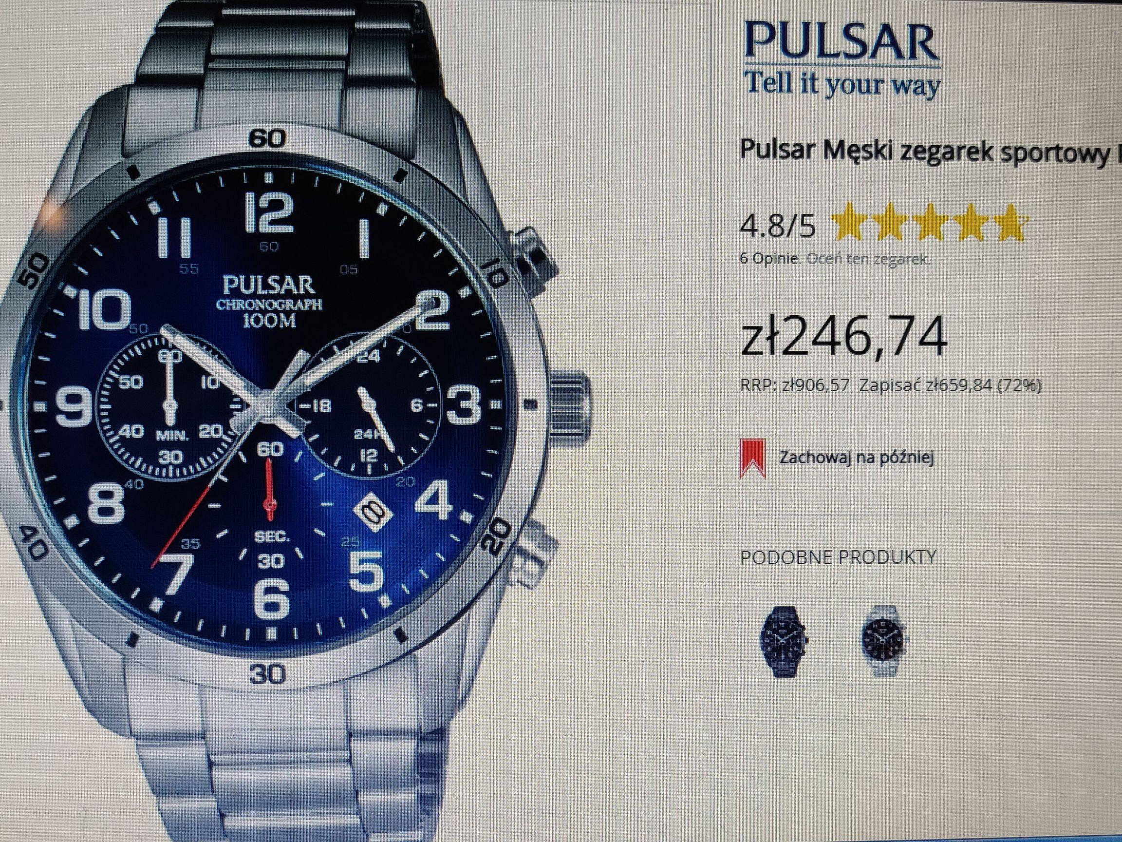 Pulsar Chronograph, męski sikor sportowy w dobrej cenie!